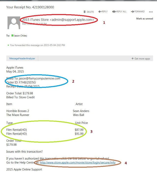 A common fake Apple invoice scam