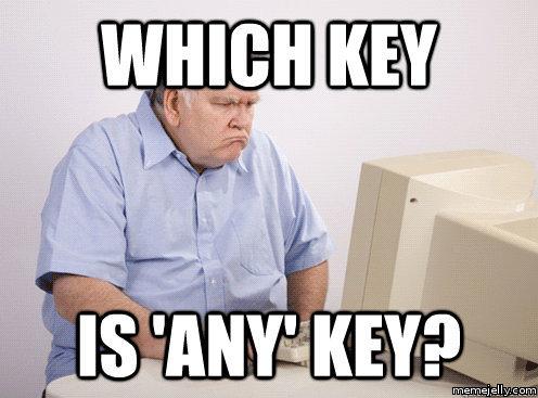 says press any key